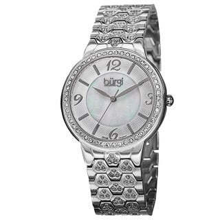 Burgi Women's Swiss Quartz Crystal-Accented Brass Silver-Tone Bracelet Watch