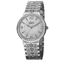 Burgi Women's Swiss Quartz Crystal-Accented Brass Silver-Tone Bracelet Watch with FREE Bangle
