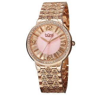 Burgi Women's Swiss Quartz Crystal-Accented Brass Rose-Tone Bracelet Watch