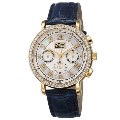 Burgi Ladies Swiss Quartz Multifunction Dual-Time Leather Blue Strap Watch