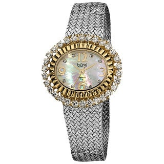 Burgi Women's Mother of Pearl Diamond Markers Mesh Silver-Tone Bracelet Watch