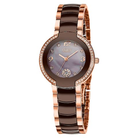 Burgi Women's Mother of Pearl Dial Diamond Markers Ceramic Rose-Tone Bracelet Watch