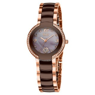 Burgi Women's Mother of Pearl Dial Diamond Markers Ceramic Rose-Tone Bracelet Watch with FREE Bangle