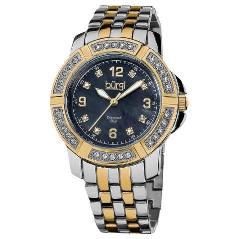Burgi Women's Swiss Quartz Diamond Markers Stainless Steel Two-Tone Bracelet Watch - gold/silver/black
