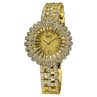 Burgi Women's Dazzling Crystal-Accented Quartz Bracelet Watch with FREE Bangle
