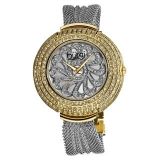 Burgi Women's Dazzling Quartz Crystal-Accented Mesh Two-Tone Bracelet Watch with FREE GIFT