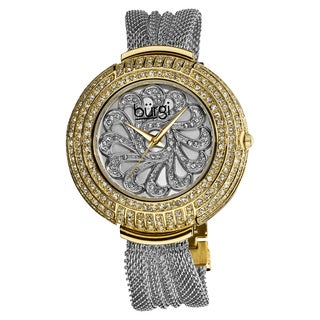 Burgi Women's Dazzling Quartz Crystal-Accented Mesh Two-Tone Bracelet Watch