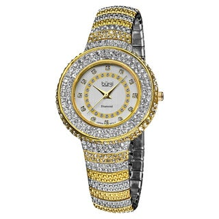 Burgi Women's Quartz Diamond Markers Crystal-Accented Brass Two-Tone Bracelet Watch