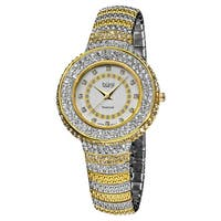 Burgi Women's Quartz Diamond Markers Crystal-Accented Brass Two-Tone Bracelet Watch with FREE Bangle