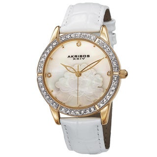 Akribos XXIV Women S Quartz Mother Of Pearl Dial Leather Gold Tone Strap Watch