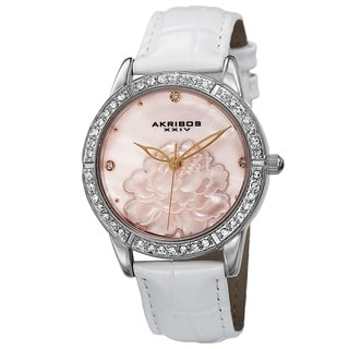 Akribos XXIV Women's Quartz Mother of Pearl Dial Leather Silver-Tone Strap Watch