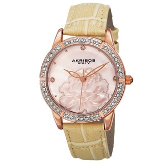 Akribos XXIV Women's Quartz Mother of Pearl Dial Leather Rose-Tone Strap Watch