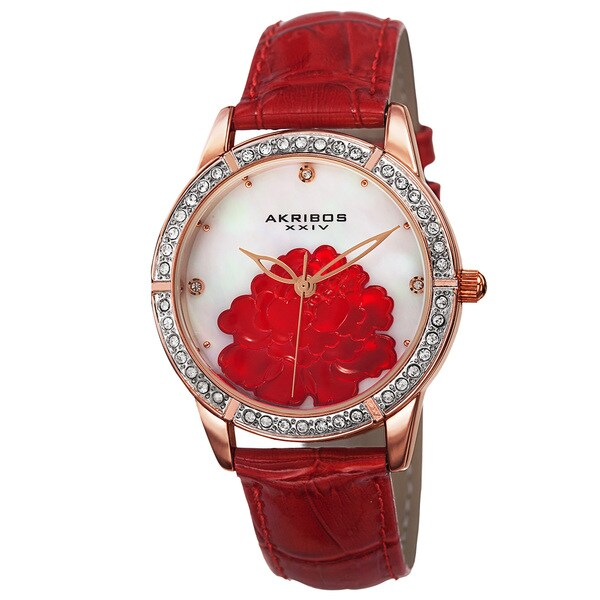 Akribos XXIV Women's Quartz Mother of Pearl Dial Leather Red Strap Watch with FREE GIFT