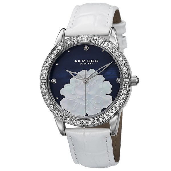 Akribos XXIV Women's Quartz Mother of Pearl Dial Leather Blue Strap Watch with FREE GIFT