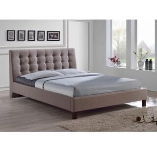 Zeller Brown Modern Bed with Upholstered Headboard