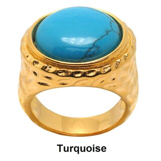 De Buman 18k Yellow Gold Plated Round Created Red Coral or Turquoise Gemstone Ring