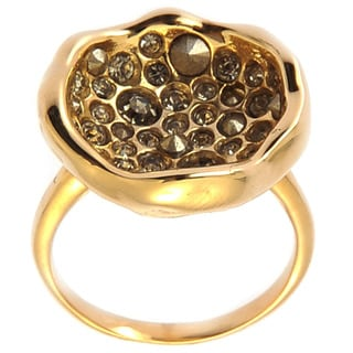 De Buman 18k Yellow Gold Plated Crystal and Black Czech Gemstone Ring