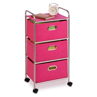 3 Drawer Rolling Cart Pink