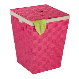 Honey Can Do HMP-03731 Pink Woven Hamper with Lid
