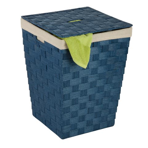 Honey Can Do HMP-03730 Blue Woven Hamper with Liner