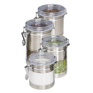 Honey-Can-Do KCH-01310 Stainless Steel and Acrylic Canister Containers, 4-Pack|https://ak1.ostkcdn.com/images/products/10062108/P17207063.jpg?impolicy=medium