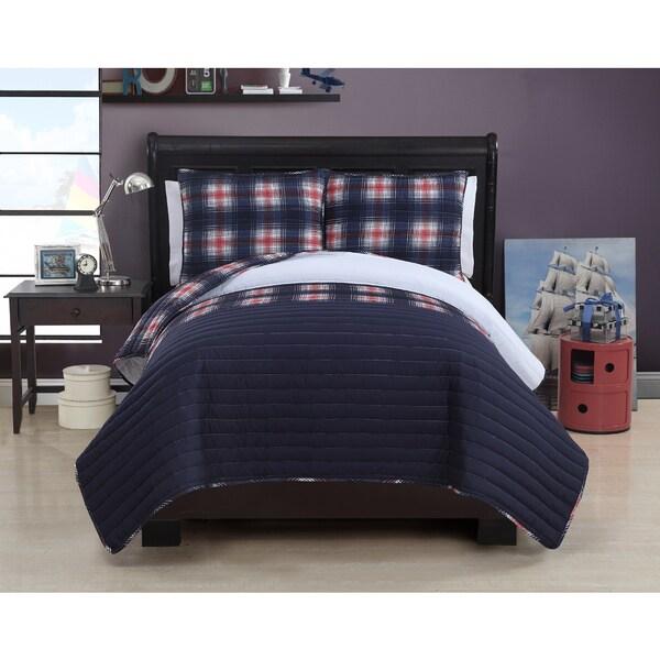 VCNY Ryan Blue Quilt Set