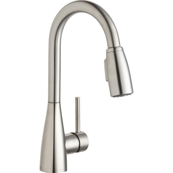 Elkay Avado Single Hole Bar Faucet with Pull-down Spray and Forward Only Lever Handle Lustrous Steel