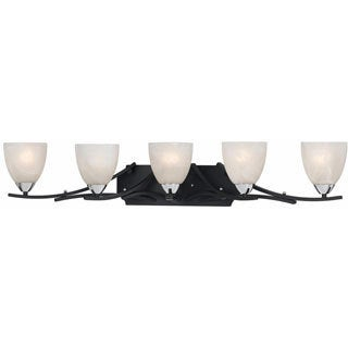 Lumenno Transitional 5-light Black with Chrome Accents Bath/Vanity Light