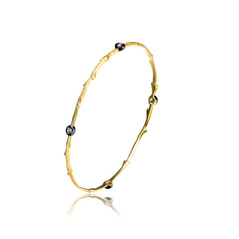 Collette Z Gold and Black-plated Sterling Silver Cubic Zirconia Bangle
