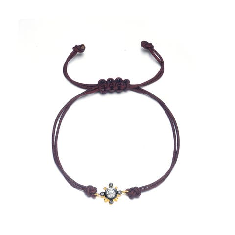 Collette Z Gold and Black-plated Sterling Silver and String Cubic Zirconia Bracelet