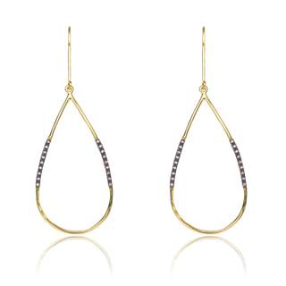 Collette Z Gold and Black-plated Cubic Zirconia Sterling Silver Large Pear-shape Hoop Earrings