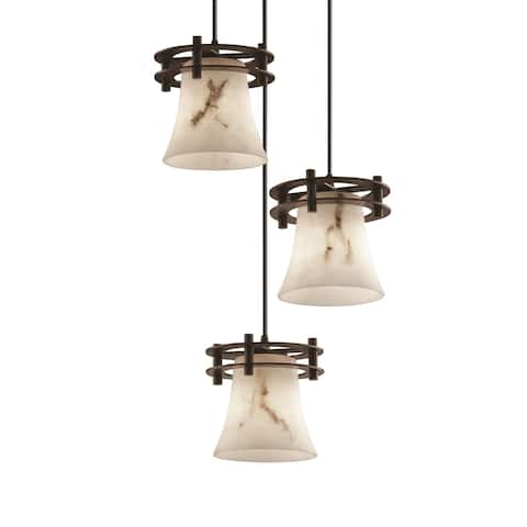 Justice Design Porcelina Clips 1-light Dark Bronze ADA Wall Sconce, Waterfall Shade