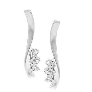 Michael Valitutti 14k White Gold Cubic Zirconia Earrings