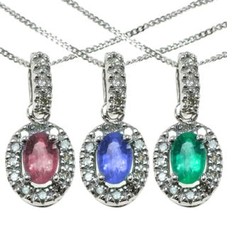 Michael Valitutti 14k White Gold Oval Gemstone Diamond Accent Necklace