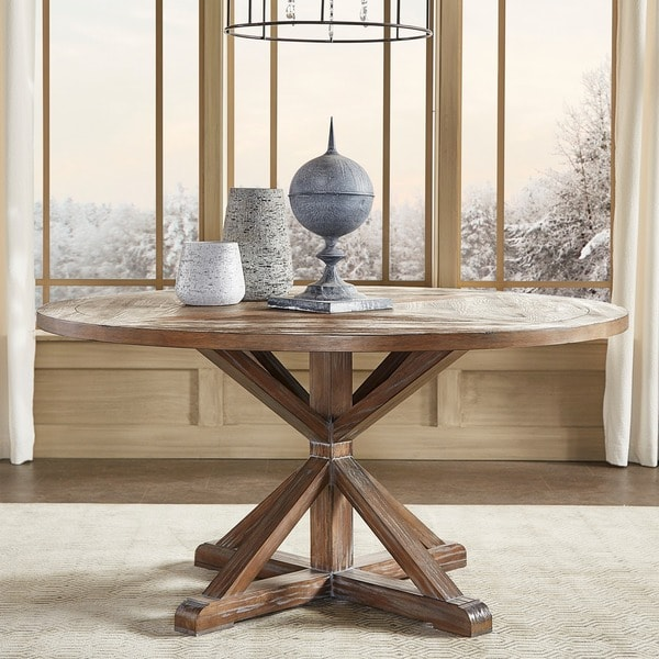 benchwright rustic x base round pine wood dining table by inspire q artisan - Dining Table Round Wood