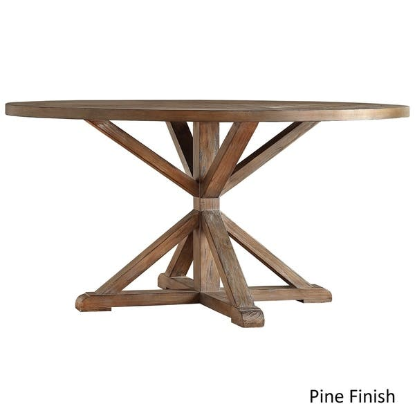 Pleasing Shop Benchwright Rustic X Base Round Pine Wood Dining Table Short Links Chair Design For Home Short Linksinfo