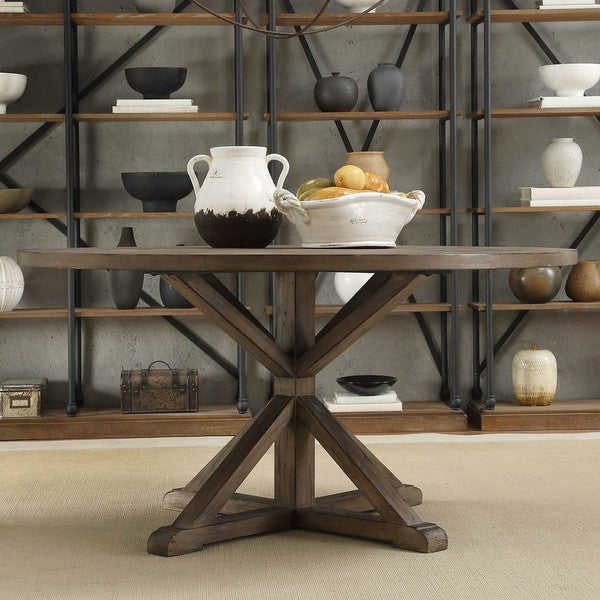 TRIBECCA HOME Benchwright Rustic X-base 60-inch Round Pine ...