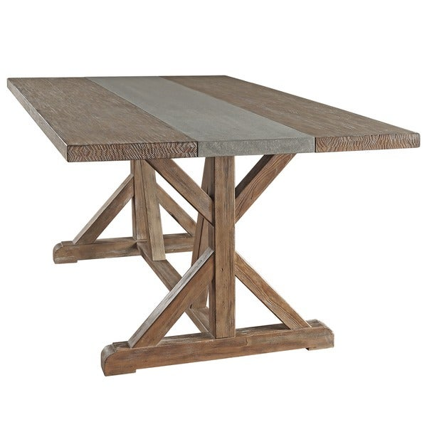 Benchwright Rustic Pine Trestle Concrete Inlaid Wood 6 Piece Dining Set By  INSPIRE Q Artisan   Free Shipping Today   Overstock.com   17207388