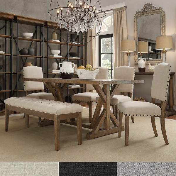 Dining Room Sets With Bench: Shop Benchwright Rustic Pine Trestle Concrete Inlaid Wood