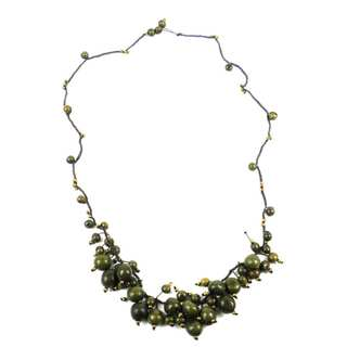 Faire Collection Cloud Forest Necklace in Military Green (Ecuador)