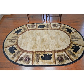 "Lodge Bear Toccoa Beige Area Rug - 5'3"" x 7'3"" Oval"