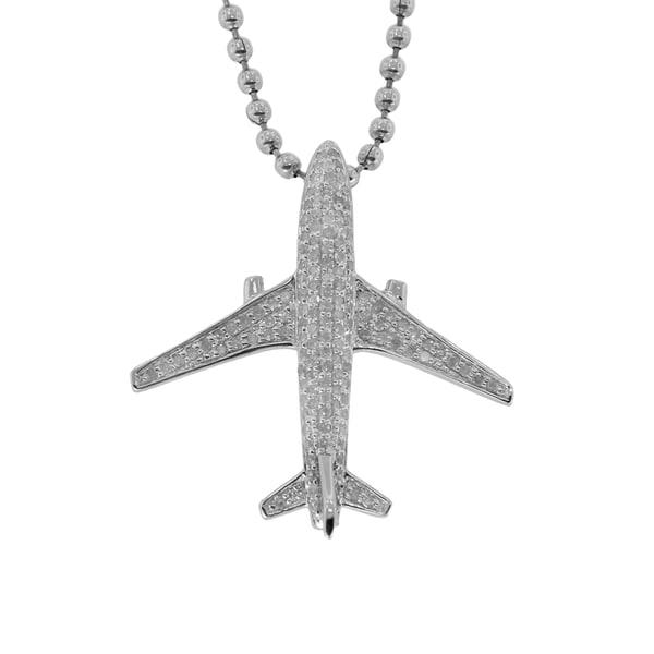 Sterling Silver Diamond Embellished Air Plane Pendant