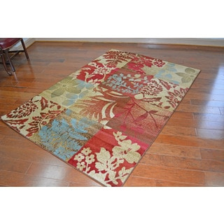 Contemporary Floral Flowers Squared Multi Area Rug (5'3 x 7'3)