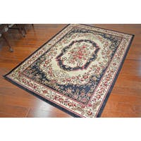 Traditional Medallion Vivian Black Area Rug - 5'3 x 7'3