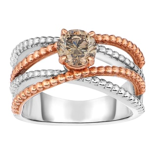 Eloquence 14k Two-tone Gold 7/8ct TDW Champagne Diamond Solitaire Ring