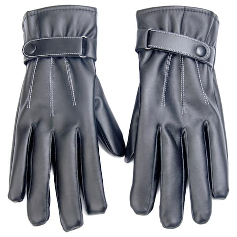 Faux Leather Texting and Driving Gloves Size - Large