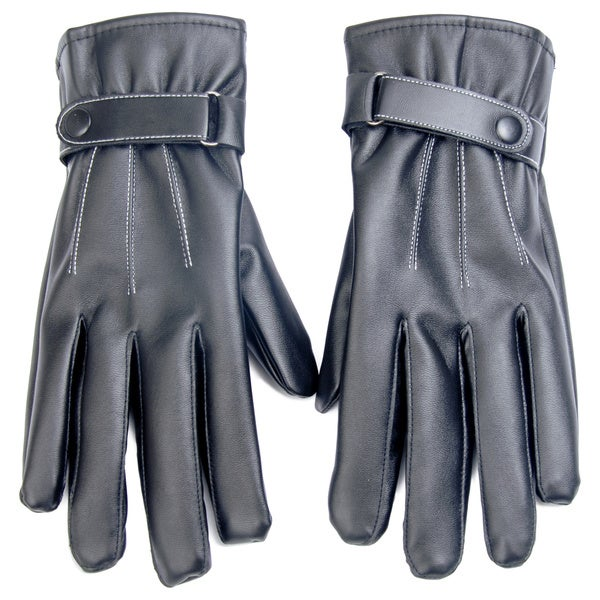 Faux Leather Texting and Driving Gloves Size - Large. Opens flyout.