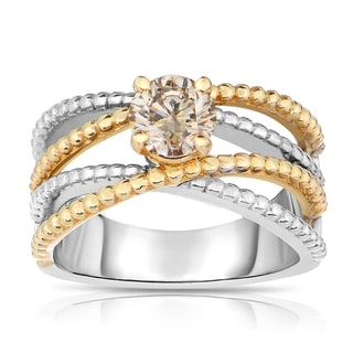 Eloquence 14k Two-tone Gold 7/8ct TDW Champagne Solitaire Diamond Ring