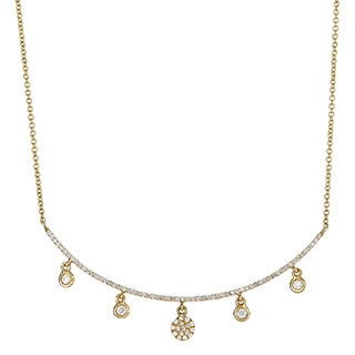 14k Yellow Gold 1/10ct TDW Diamond Bar Necklace