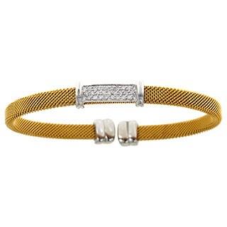 14k White Gold and Yellow Mesh 1/4ct TDW Diamonds Bangle (H-I, SI1-SI2)